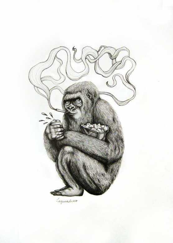 Smoking Gorilla artwork