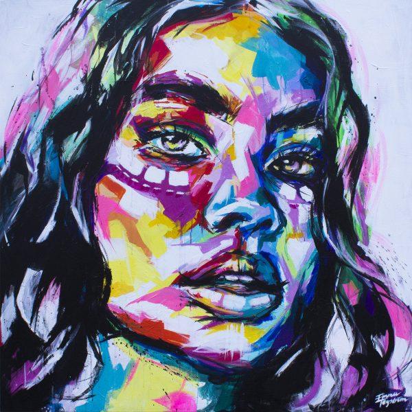 Färgglatt porträtt av kvinnoansikte