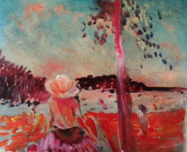 Varm kväll på Fiskeboda strand., 2021 Olja 60 x 52 cm