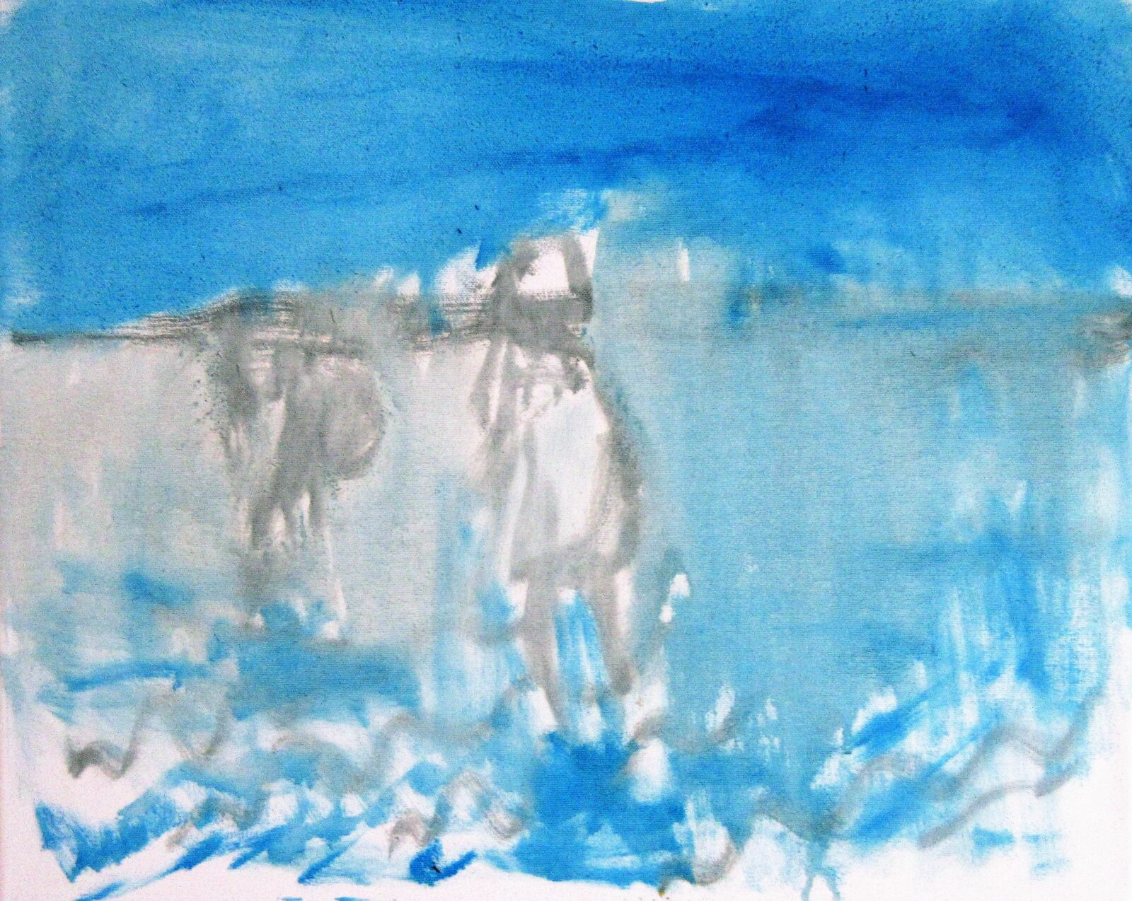 Snäcksamlarna vid havet. 50 x 40 cm