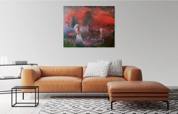 Kvinna med parasoll Impressionistisk olja på dukpannå 50 x 60 cm